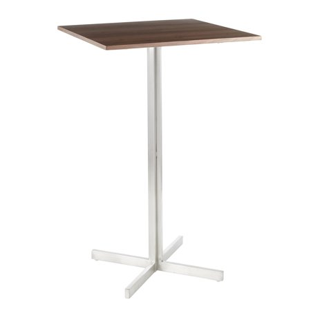 Fuji Contemporary Square Bar Table in Stainless Steel with Walnut Wood Top by
