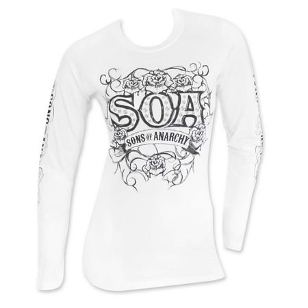 Sons Of Anarchy Women's White Long Sleeve Tribal T-Shirt-Small