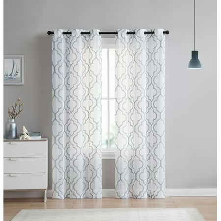 - 2 Pack: VCNY Home Charlotte Semi Sheer Trellis Grommet Top Curtain Panels - (Grey, 96 in. L)