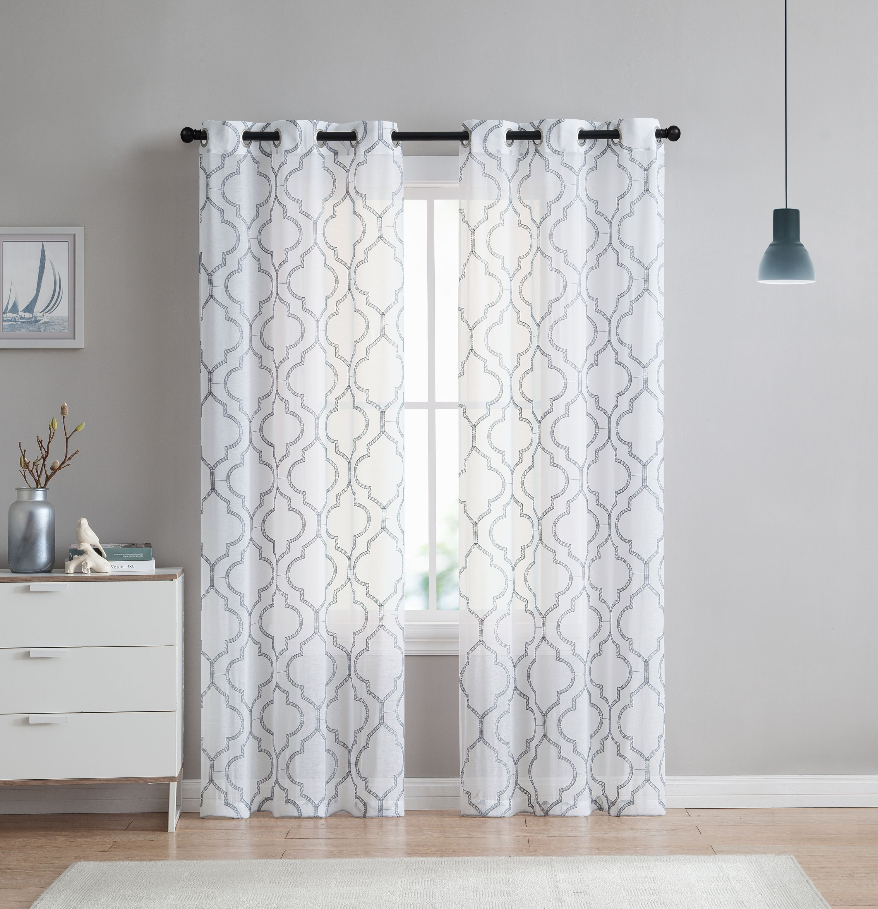 2 Pack: VCNY Home Charlotte Semi Sheer Trellis Grommet Top Curtain Panels -  (Grey, 84 in.)