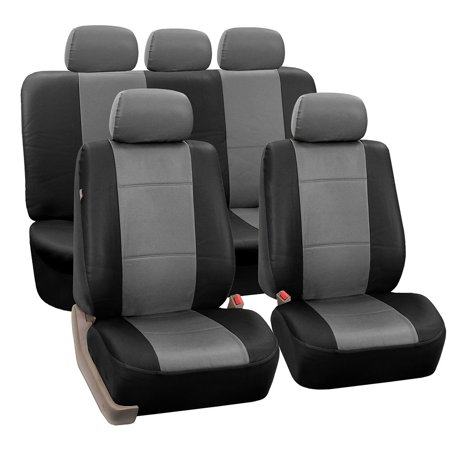 FH Group PU002GRAYBLACK115 Gray Black Faux Leather Seat Cover (Full Set Airbag Compatible and Split Bench Cover)