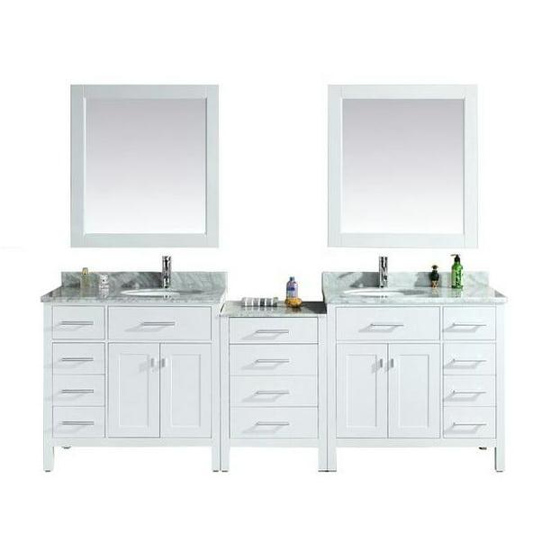 London 92 Double Sink Vanity Set In White Walmart Com Walmart Com