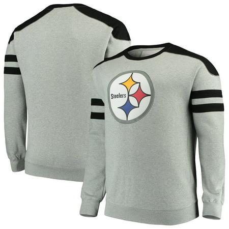 online store 024c2 80786 Pittsburgh Steelers Mitchell & Ness Big & Tall Post Season Run Crew Neck  Sweatshirt - Heathered Gray/Black