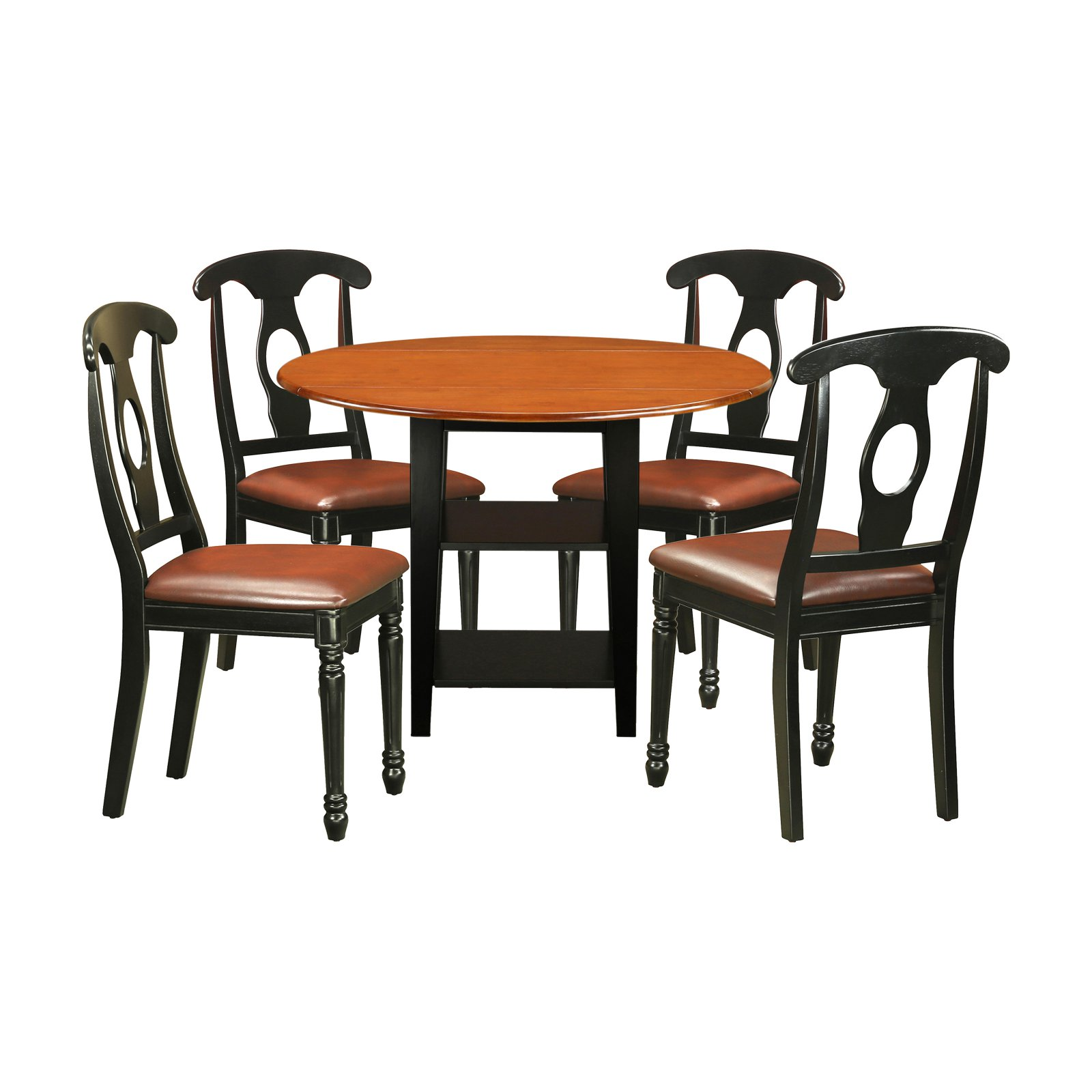 East West Furniture Sudbury 5 Piece Dual Drop Leaf Dining Table Set with Keyhole Chairs
