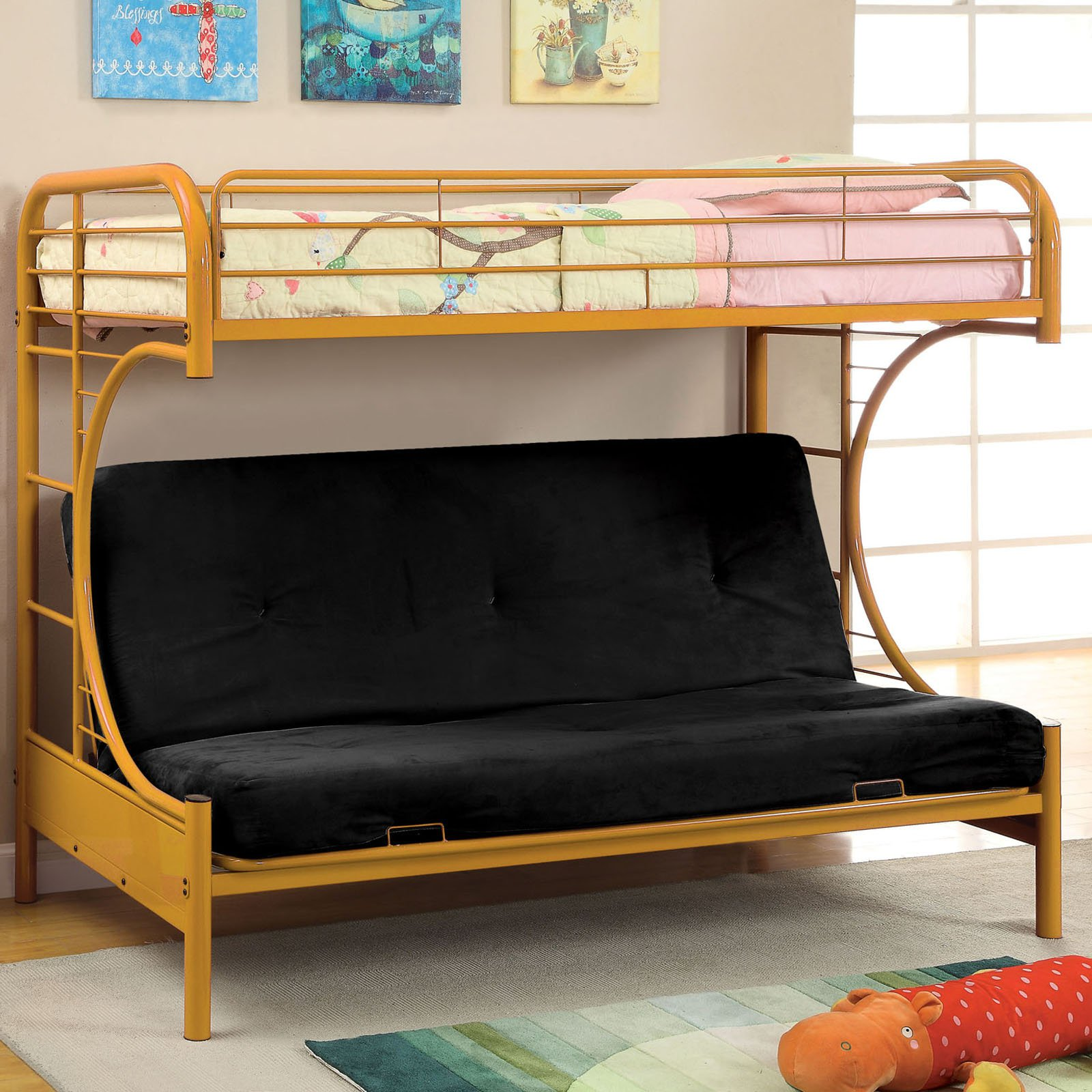Ravens Contemporary Twin Over Futon Bunk Bed Walmart Com
