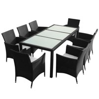 HERCHR 9 Piece Outdoor Dining Set with Cushions Poly Rattan Black