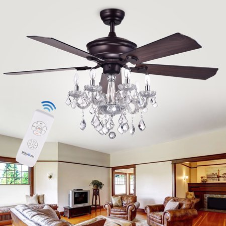 Warehouse Of Tiffany Havorand 52 Inch 5 Blade Ceiling Fan With Crystal Chandelier With Remote