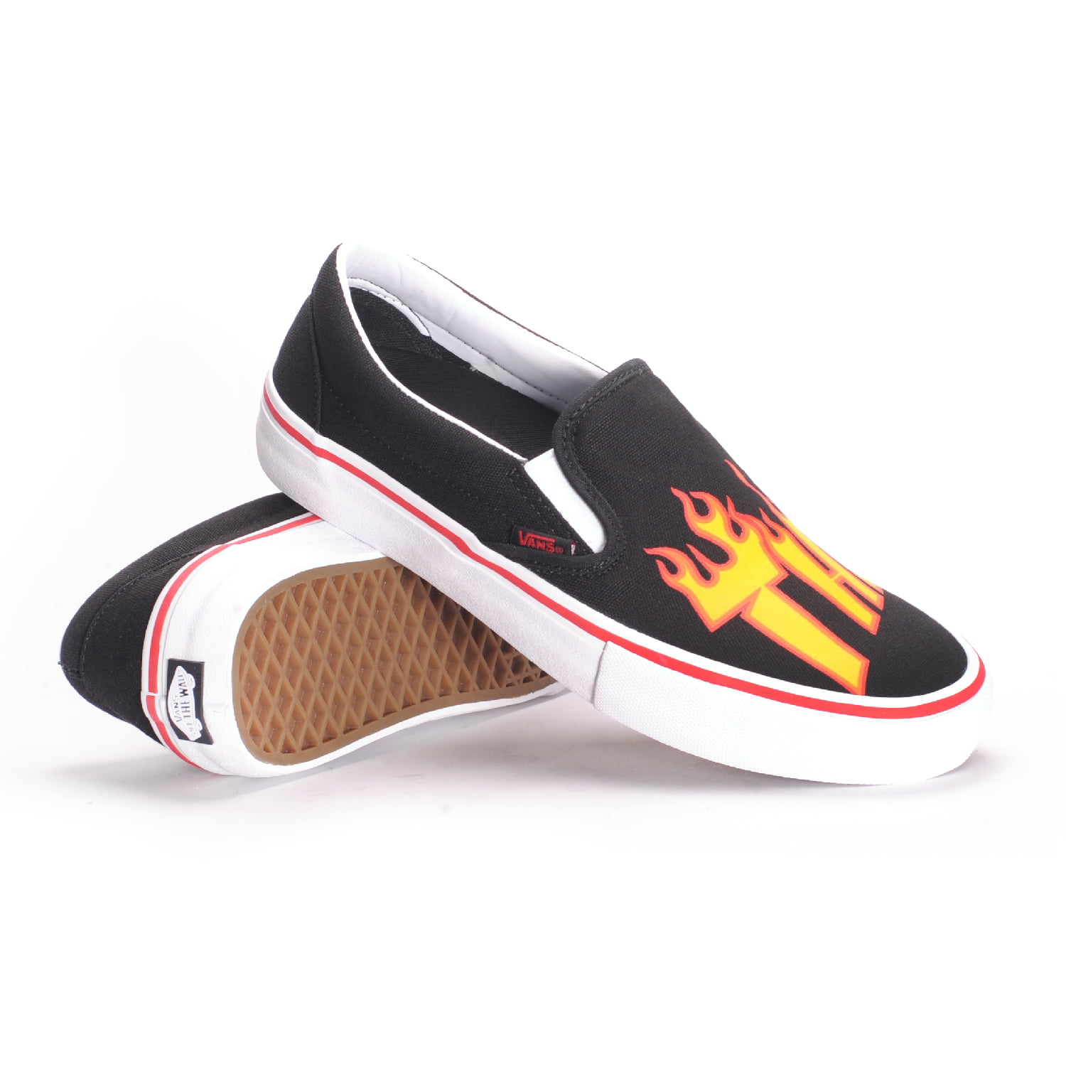 Vans Vans x Thrasher Slip On Pro (Thrasher Black) Men's Skate Shoes 11.5