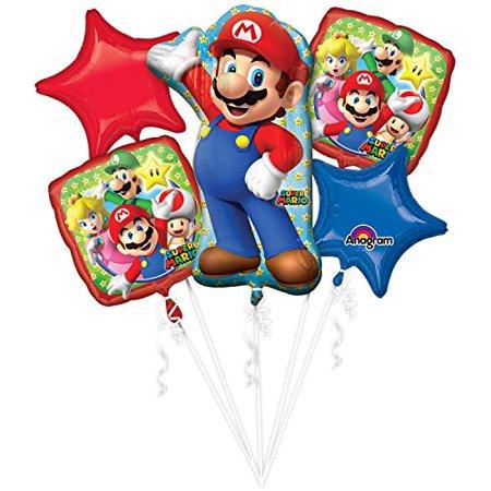 Super Mario Balloons (ANAGRAM INTERNATIONAL 3201101 Foil Balloon Bouquet, Various,)