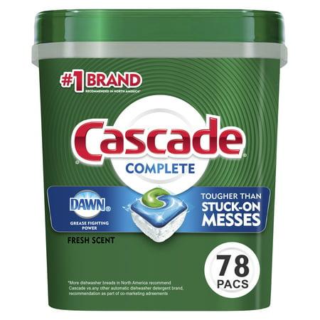 Cascade Complete Actionpacs, Dishwasher Detergent, Fresh Scent, 78