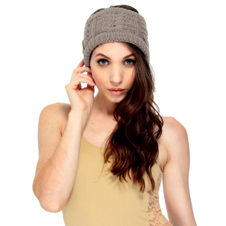 Fashion Head Wrap in Cable Knit, Warm Winter Hair Accessories, Khaki