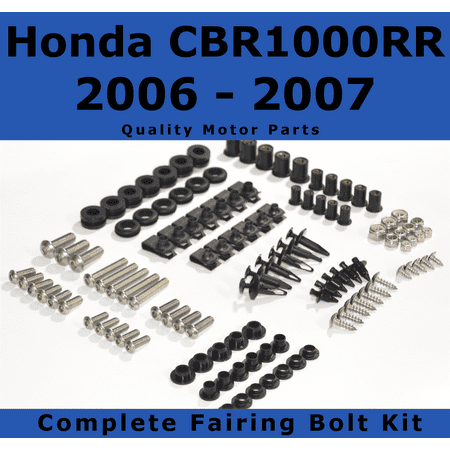 - Complete Black Fairing Bolt Kit for Honda CBR1000RR 2006 - 2007 body screws fasteners Stainless