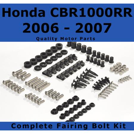 Complete Black Fairing Bolt Kit for Honda CBR1000RR 2006 - 2007 body screws fasteners Stainless