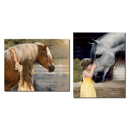 Girl and Horse | The Great of these is Love & Love is Patient Set; One 12x16in and One 16x12in Poster Print