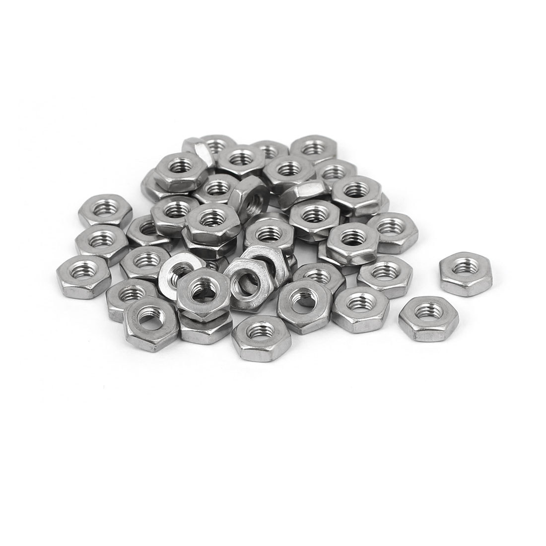 #10-32 304 Stainless Steel Finished Metric Hex Nut Silver Tone 50pcs