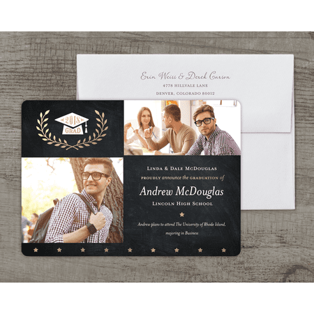 Golden Stars Deluxe Graduation Announcement - Graduation Announcements 2017