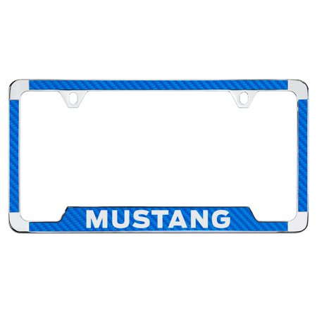 Ford Mustang Blue Simulated Carbon Fiber License Plate Frame Holder