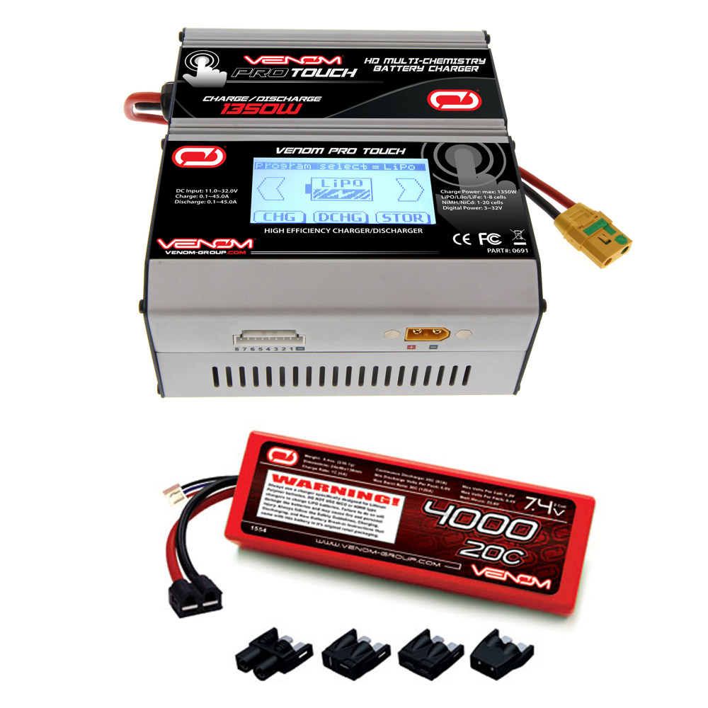 Venom 20C 2S 4000mAh 7.4V Hard Case LiPo Battery with Universal Plug System and Venom Pro Touch Screen HD 45A RC LiPo/LiHV/NiMH Battery Charger Combo