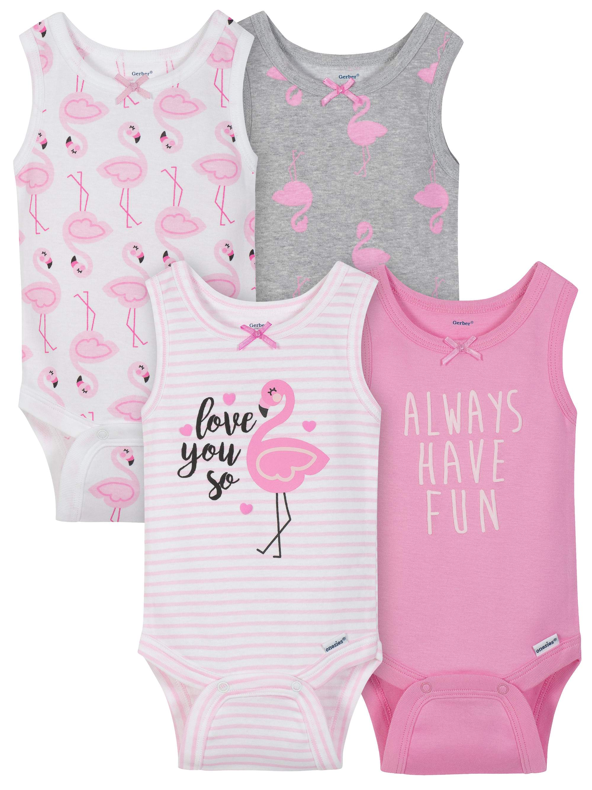 Sleeveless Tank Top Onesies Bodysuits, 4pk (Baby Girls)