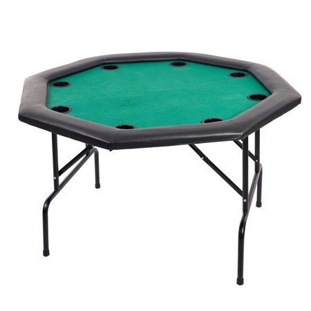 """KARMAS PRODUCT 48"""" Round Poker Table 8 Palyer Casino Texas Holdem Blackjack Table with Folding Legs and Built-in Cup Holders, Green (Blackjack Table Top Felt)"""