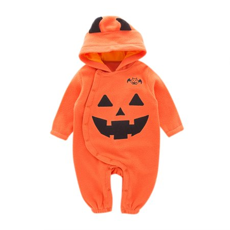 Infants Toddler Newborn Baby Long Sleeve Round Neck Pumpkin Pattern Romper Hooded