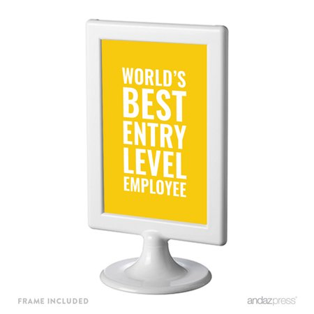 World's Best Entry Level Employee Funny & Inspirational Quotes Office Framed Desk