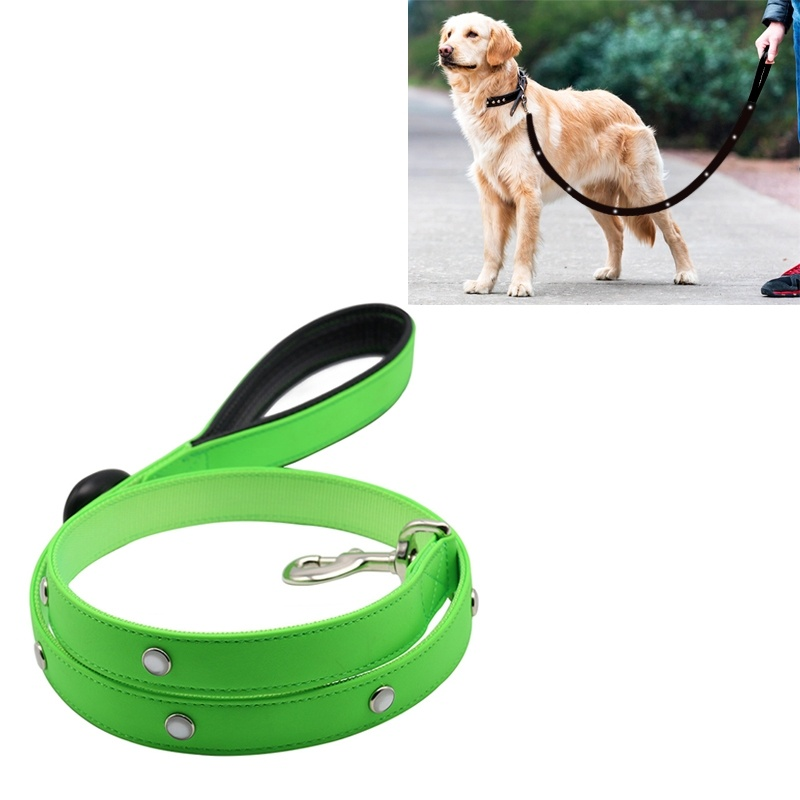PVC Webbing Material Waterproof LED Light Traction Belt Pet Dogs Traction Rope with Handle, Suitable For Medium and Large Dogs, Rope Length:120 cm - Green