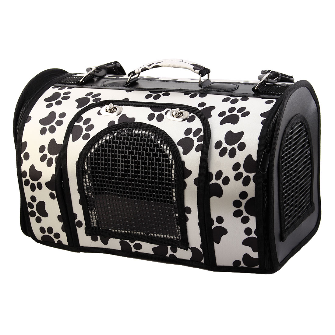 Nylon Paw Print Meshy Zipper Closure Pet Carrier Totes Dog Cat Case Bag White S