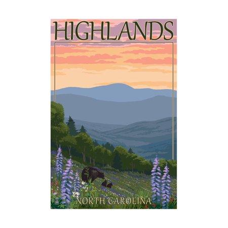 Highlands, North Carolina - Bear Family and Spring Flowers Print Wall Art By Lantern Press