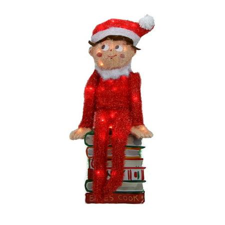 Northlight Seasonal Pre-Lit Elf on the Shelf 3-D Sitting Elf on Books Christmas Yard Art Decoration