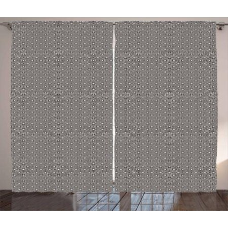 Abstract Curtains 2 Panels Set, Art Deco Inspired Geometric Pattern of Monochrome Latticework Circular Shapes, Window Drapes for Living Room Bedroom, 108W X 108L Inches, Black and White, by Ambesonne