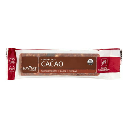 1.4 Ounce Bars - Navitas Naturals Superfood Bar, Cacao Cranberry, 1.4 Oz, Pack of 12