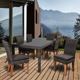 Amazonia Lemans Deluxe Oval Eucalyptus And Wicker Dining Set - Seats ...