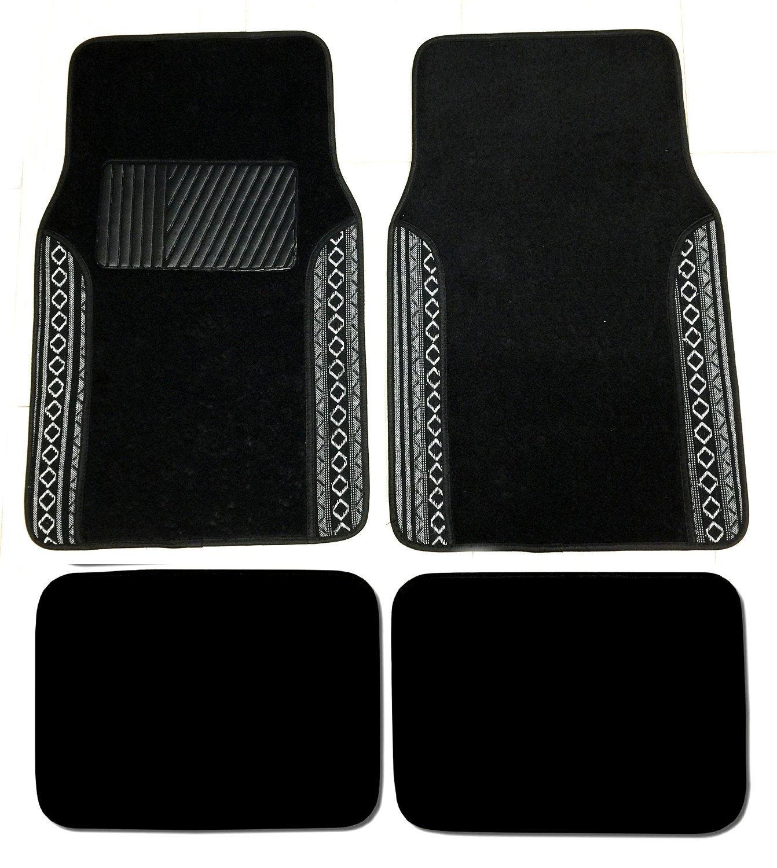 Premium Carpet 4PC Front & Rear Driver Pats Cars Trucks Sedans SUVs (Baja Black)