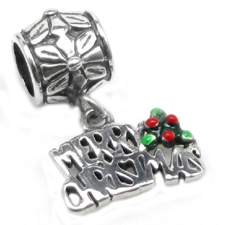 Sterling Silver Merry Christmas Flower European Style Dangle Bead Charm Fits Pandora - Christmas Charms