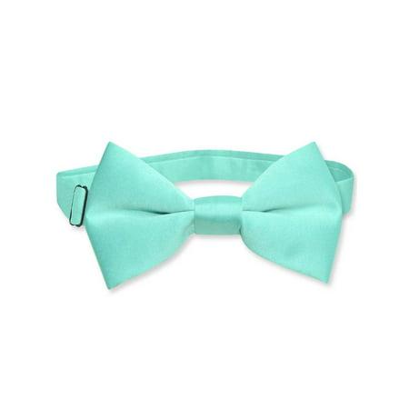 Vesuvio Napoli BOY'S BOWTIE Solid AQUA GREEN Color Youth Bow Tie - Lighted Bow Tie