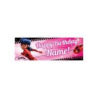 Personalized Miraculous Ladybug Birthday Banner, Pink