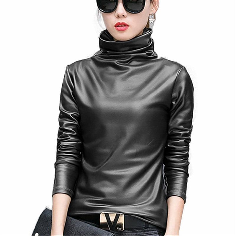 Sexy Women Pu Leather Blouse Turtleneck