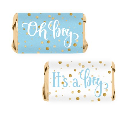 Blue Gold Boy Baby Shower Candy Wrappers 54ct - Blue and Gold Its a Boy Baby Shower Decorations Candy Favors - 54 Count Stickers