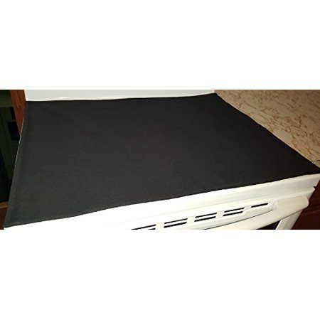 Canvas Cover & Proterctor for Glass / Ceramic Stove Top - Cook Top (15 Colors Available) (Black/Black) (Covers For Stove In Rv)