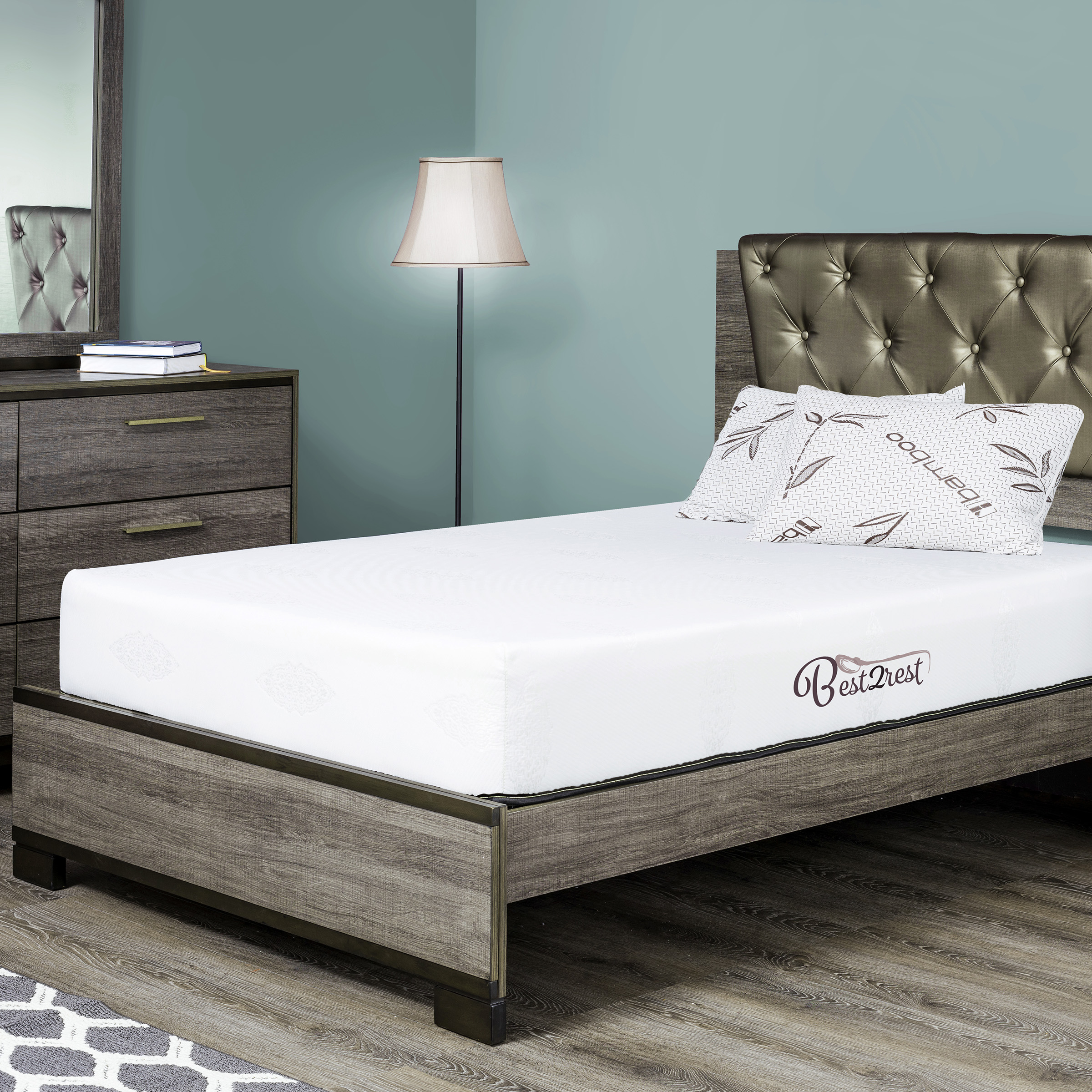 BEST 2 REST Queen Memory Foam Mattress 10 Inch With Cool Gel - Made In USA