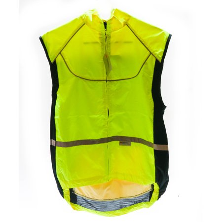 WOWOW Lrg Sleeveless Sport Jacket  Cycling Wind Vest 3M High-Viz Reflective