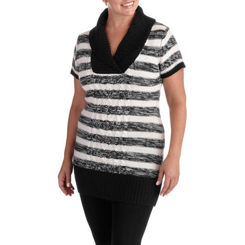 Women's Plus-Size Striped V-neck Sweater Tunic