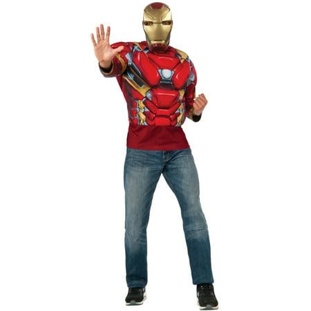 Men's Avengers Iron Man Marvel Civil War Padded Shirt Top Costume L 42-44](Civil War Outfits)