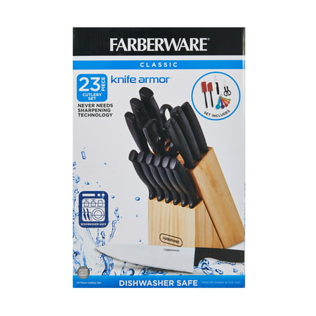 Farberware Classic 23-Piece Never Needs Sharpening Dishwasher Safe Cutlery and Utensil Set