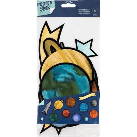 Shock Spacer (American Crafts 345591 5.5 x 12 in. Poster Shop Cardstock Ephemera - Space )