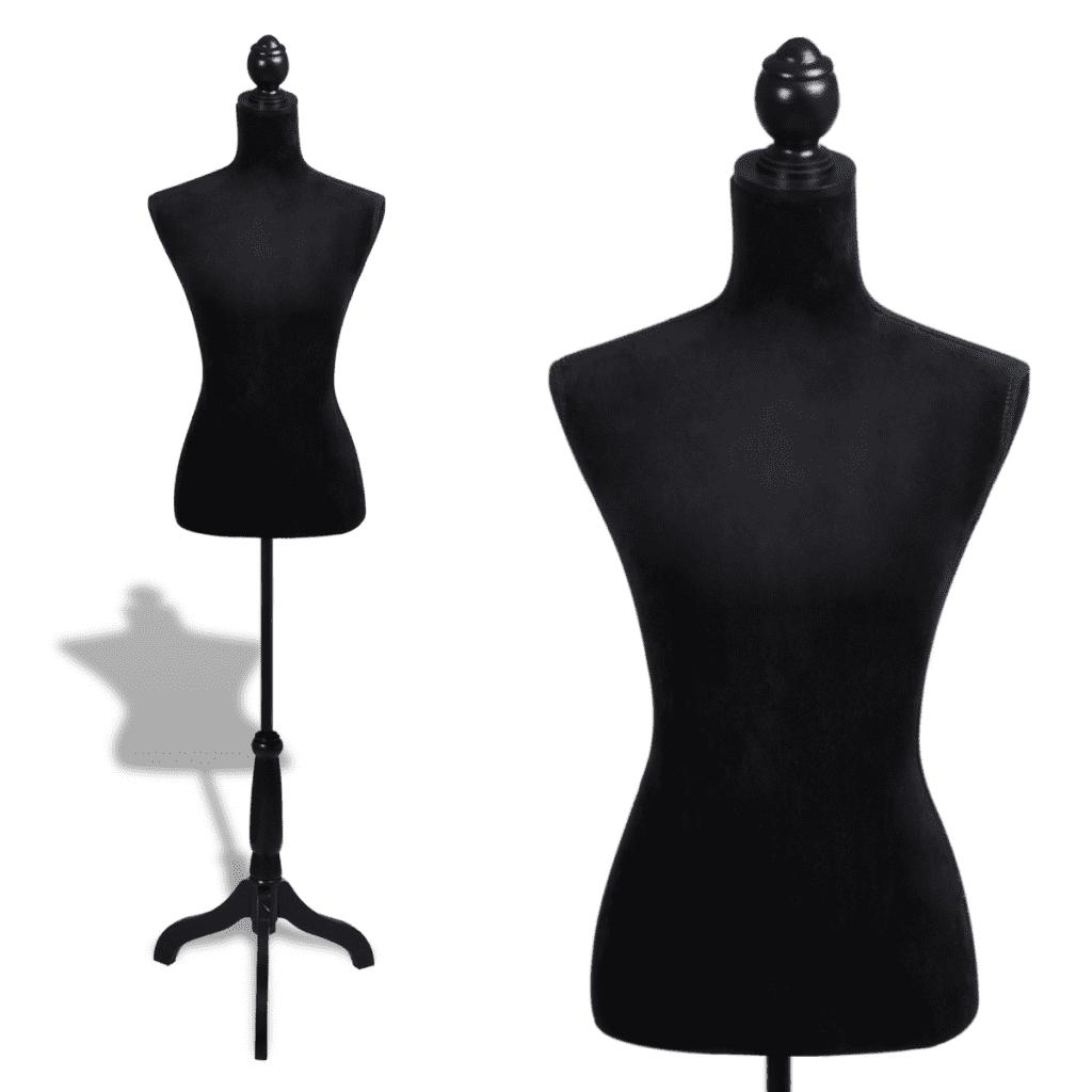 Female Mannequin Ladies Bust Display Dress Form - Black