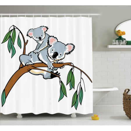 Animal Shower Curtain Set, Mother and Baby Koala Climbing over Eucalyptus Tree Branch Cute Wildlife Zoo Forest Deco, Bathroom Decor, Grey Brown, by Ambesonne - Mom Shower