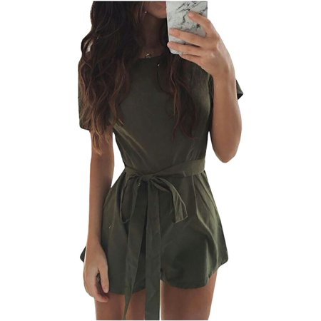 Short Sleeve Women Solid Color Shorts Jumpsuit with Belt