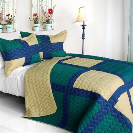 ONITIVA-QTS01195-23 Traveling Light - 3 Pieces Vermicelli-Quilted Patchwork Quilt Set  Full & Queen Size - Green - image 1 of 1